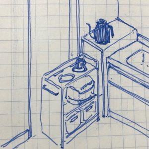 キッチン造作家具イメージイラスト